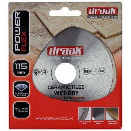 DRAAK POWER FLEX CERAMIC TILE DIAMOND DISC 115MM